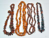 Four Strands of Amber Beads Necklaces
