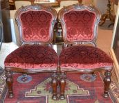 Two mid Victorian Red Damask Oak Chairs