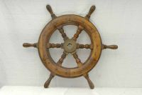 A Ships Brass and Timber Steering Wheel