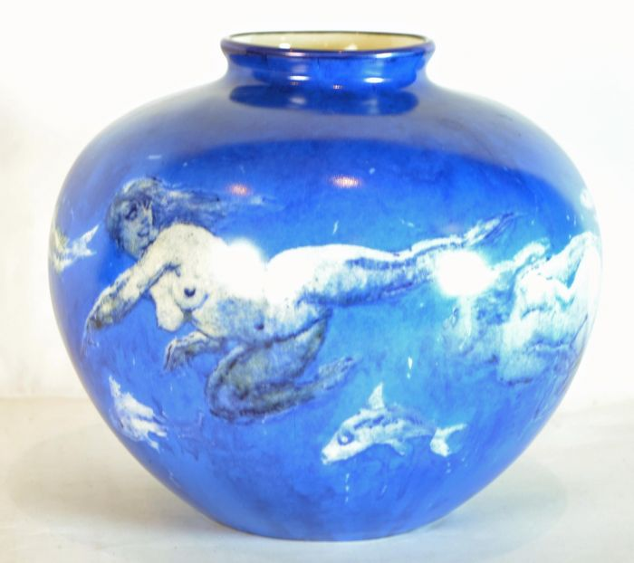 Mckenzies Auctioneers A Norman Lindsay Swirl Of The Sea Vase