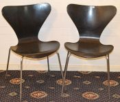 A Pair Arne Jacobsen Chrome and Black Plywood