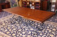 A Solid Oak Topped 8 Seat Dinning Table