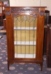 An Edwardian 'Leadlight' Fronted Mahogany 2 Shelf Display Cabinet