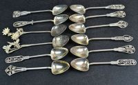 A Set of 12 J.A Linton Wildflower Sterling Silver