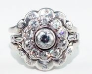 Classic Scalloped Edge Cluster Ring