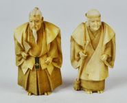 A Pair of Japanese Carved Ivory Okimono Figures