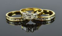 Diamond Ring and Matched Wedding Rings