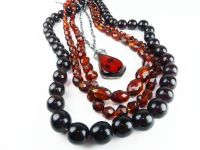Amber Bead Necklace with Silver Necklet.