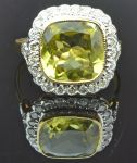 Peridot and Diamond Halo Cluster Ring