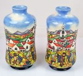 A Pair Moorcroft Pottery Andalucia Pattern Vases