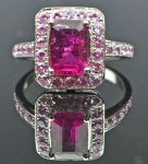 Rubellite and Sapphire Cluster Ring