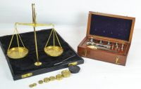 An Antique Brass Balance Scale and Set of Steel