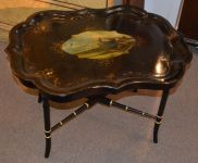 A mid Victorian Papier Mache Tray on stand c1870