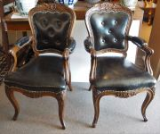 A Pair 19th Century Louis XV style Leather