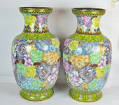 A Pair Large Size Chinese Cloisonne Vases